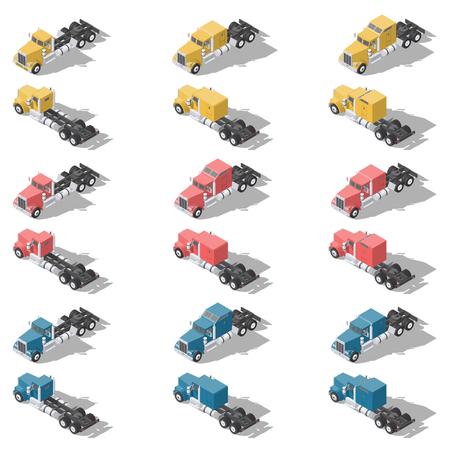 American trucks isometric low poly icon set vector graphic illustration design Illustration