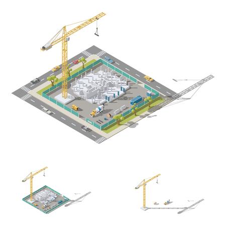 De bouw van een huis, het gieten van kolommen in de vastgestelde vector grafische illustratie van het bekistings isometrische lowpoly pictogram