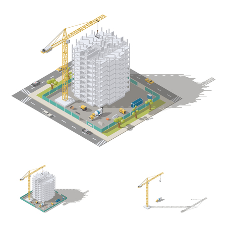 Construction of house, monolithic frame of the building isometric low poly icon set vector graphic illustration Illustration