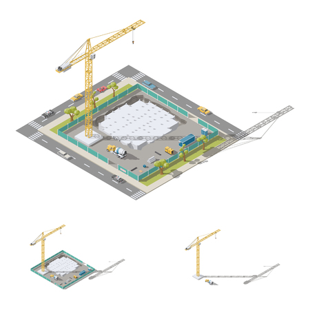 Pouring the foundation of a residential building isometric lowpoly ion set vector graphic illustration