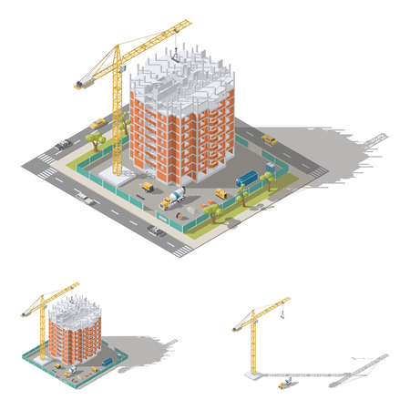 Building house, pouring a reinforced concrete frame, laying brick walls isometric icon set vector graphic illustration