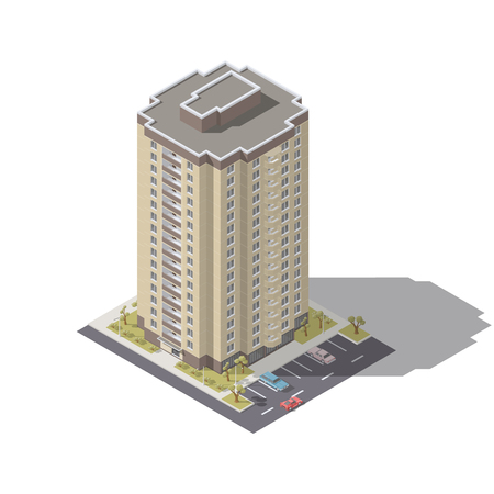 Residential building with parking isometric icon set vector graphic illustration. Illustration