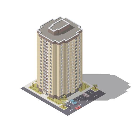 Woningbouw met vastgestelde vector grafische illustratie van het parkeren de isometrische pictogram. Stock Illustratie
