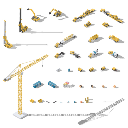 Construction machinery and equipment low poly isometric icon set vector graphic illustration