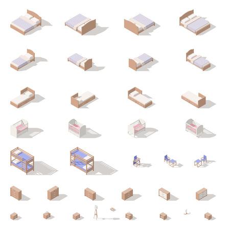 Slaapkamer en kinderkamermeubilair, lage poly isometrische pictogram vastgestelde vector grafische illustratie