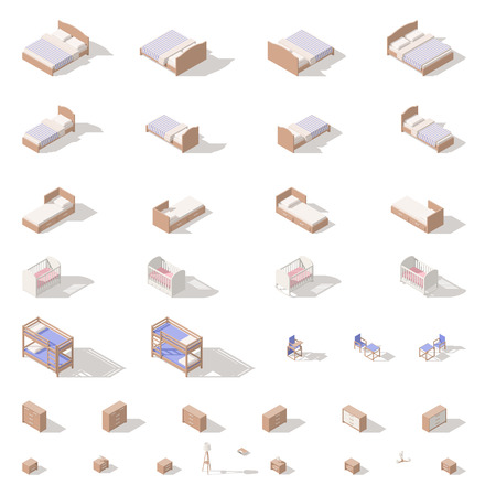 Bedroom and children room furniture, low poly isometric icon set vector graphic illustration