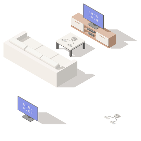 Video game console low poly isometric icon set. Vector graphic illustration.