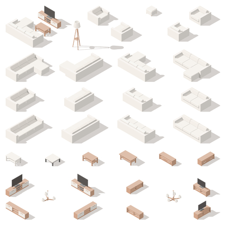 Living room low poly isometric icon set. Vector graphic illustration.