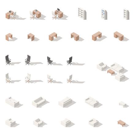Kabinet of werkplek laag poly isometrische icon set. Vector grafische illustratie.