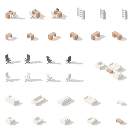 Cabinet or workplace low poly isometric icon set. Vector graphic illustration.