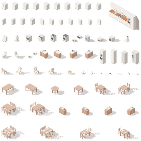 Kitchen and bathroom low poly isometric icon set. Vector graphic illustration.