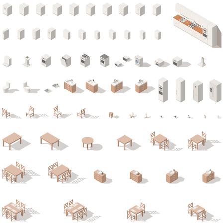 Keuken en badkamer laag poly isometrische icon set. Vector grafische illustratie. Stock Illustratie