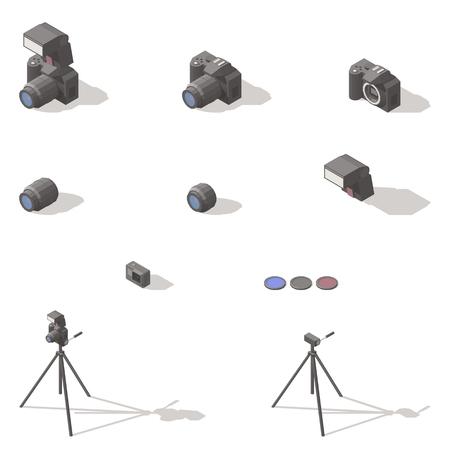 Photo and video equipment isometric low poly icon set Stock Illustratie