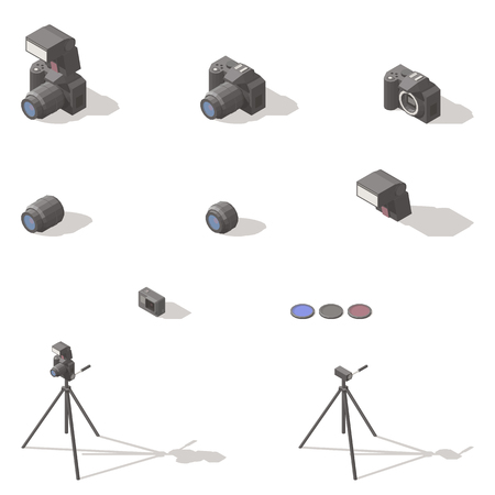 Photo and video equipment isometric low poly icon set 일러스트