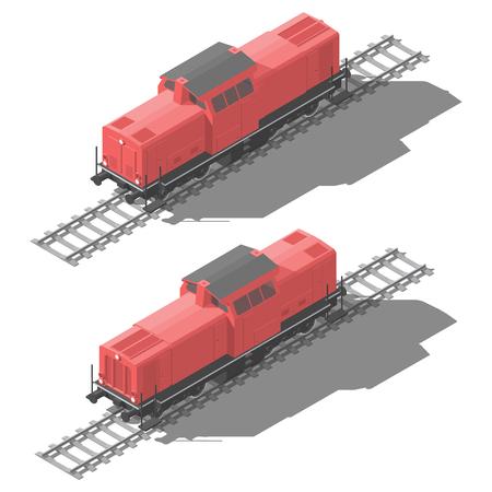 Diesel locomotive isometric low poly icon
