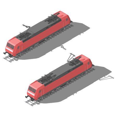 Modern electric locomotive isometric low poly icon set vector graphic illustration design