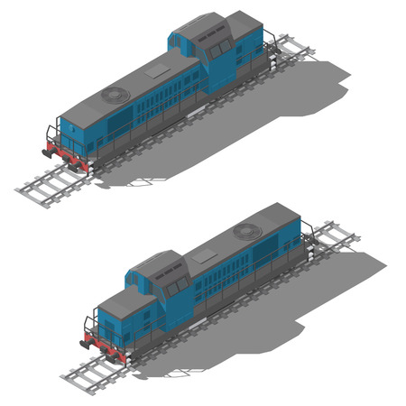 Freight diesel locomotive isometric low poly icon set vector graphic illustration Illustration