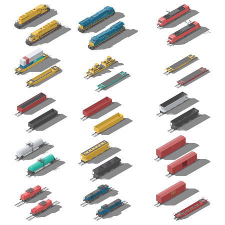 Freight railroad cars and locomotives isometric low poly icon set vector graphic illustration 일러스트