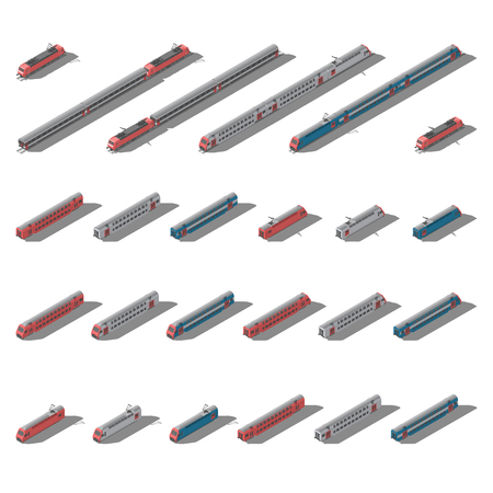 European passenger commuter and intercity trains isometric low poly icon set vector graphic illustration design