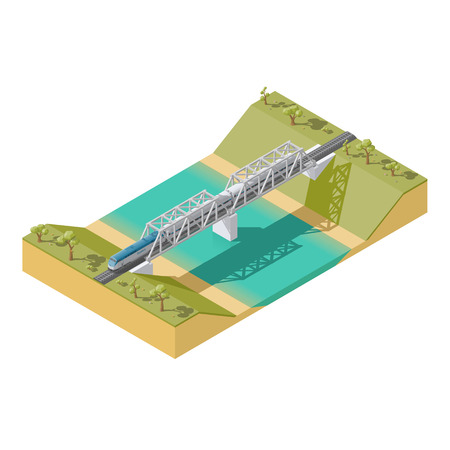Element infographic passenger train traveling over a bridge across the river low poly isometric icon set vector graphic illustration