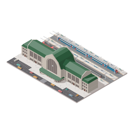 Elements of infographics passenger railway station low poly isometric icon set vector graphic