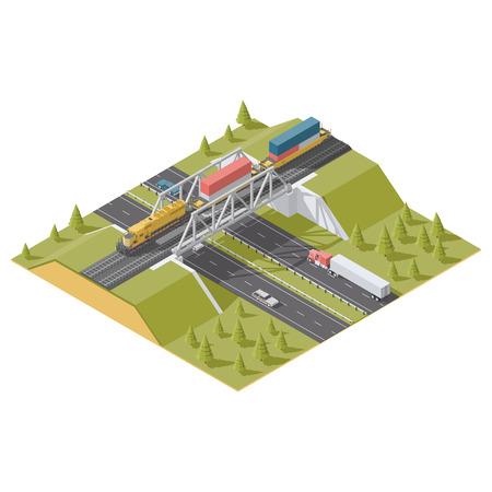 Representation Infographic Railway bridge over the highway isometric low poly icon set vector graphic illustration Illustration