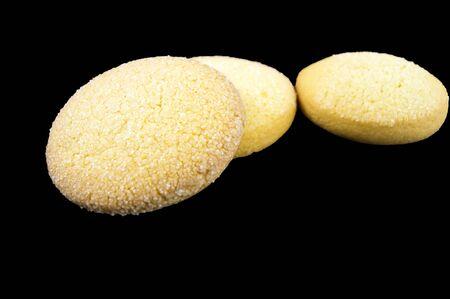 Cookies of corn flour on a dark background