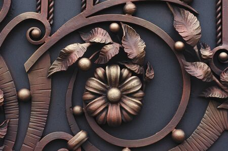 Modern metal forged elements of gates, leaves and flowers