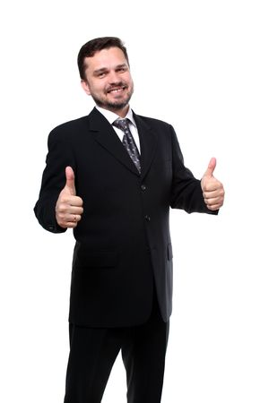 business man with thumbs up isolated over white  photo