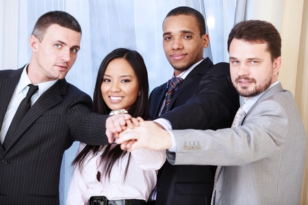 employees group: Portrait of a multi ethnic business team.