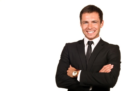 Portrait of a handsome young business man smiling Stock Photo
