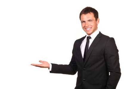 giving back: Business man presenting over a white background  Stock Photo