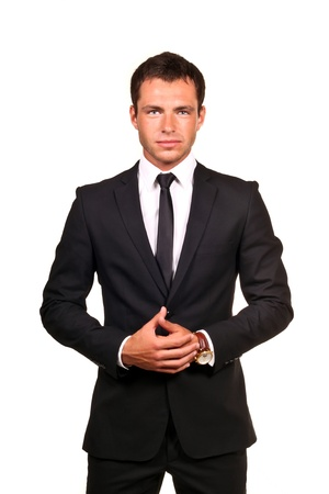 men in suits: Portrait of a handsome young business man Stock Photo
