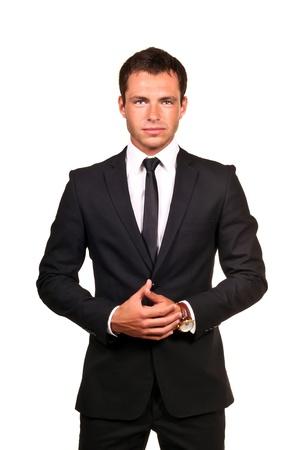 traje: Retrato de un hombre de negocios joven guapo