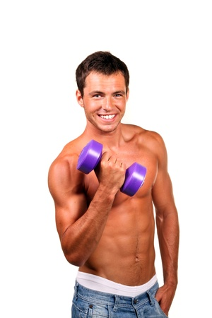 sexy muscular man: Sexy muscular man doing lifting