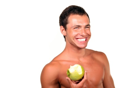 Young sexy man Holding Green Apple  photo