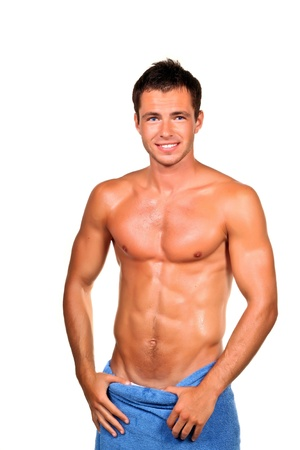 nude wet: Handsome muscular man with the towel. Stock Photo