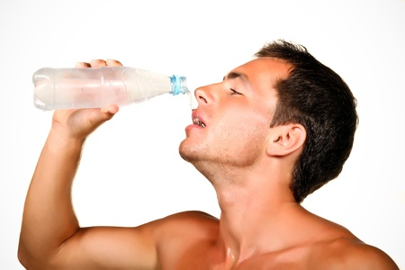 musculine: young man drinking water close up shoot