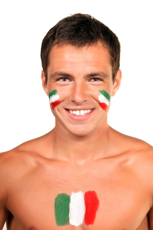 Portrait of an italian football fan with flag on his body and face, isolated on white photo