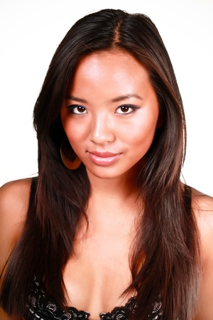 Close-up portrait of beautiful young asian model, isolated over white background photo