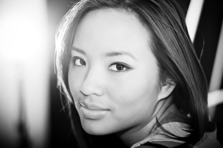 Calm black and white portrait of a young beautiful woman Stock Photo - 9282664