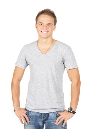 Portrait of happy smiling man, isolated on white Stock Photo