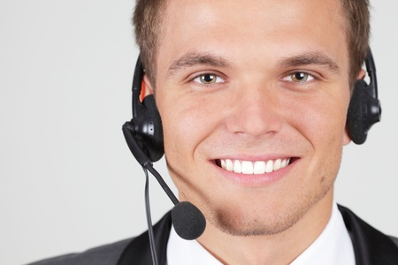 Customer support operator woman smiling isolated photo