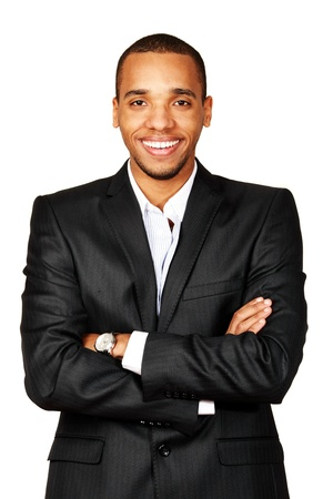 Portrait of a happy African-American young businessman isolated over white background photo