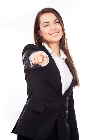 Young beautiful business woman pointing on you on white background Stock Photo - 9365393