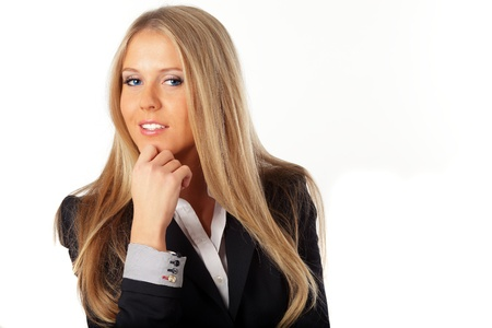 Portrait of a young attractive blonde business woman with blue eyes. Stock Photo - 9365541