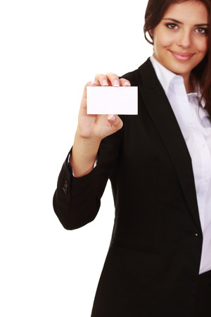 businesscard: Businesswoman holding blank businesscard, focus on card, isolated Stock Photo