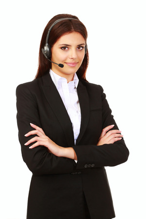 Happy smiling support phone operator in headset, isolated on white photo