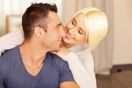 Happy beautiful  couple bonding at home Stock Photo - 23948583