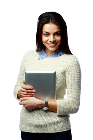 Young cheerful businesswoman holding tablet computer isolated on a white background photo